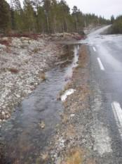 Bilde av vatn i vegen på veg mot Blåsteinsbekken. Foto Hans Sollid