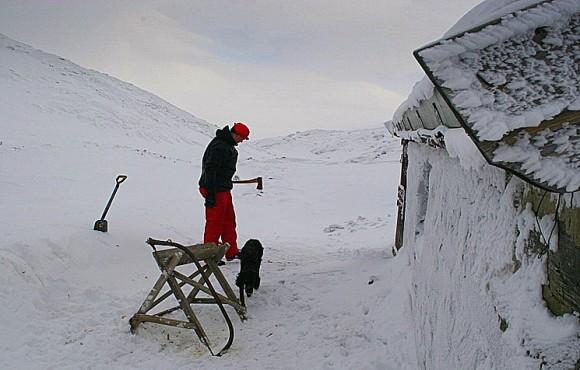 Ved må til når vinterværet er ruskete og bua kald. Foto Therese Bergersen