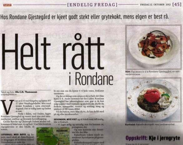 Faksimile fra Dagbladets oppslag fredag 12.oktober.