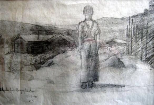 Anton Brænd på setertunet. Påskrift på tegninga: Odelsgutten til Storgrytdalen. Tegning utført av Knut Skinnarland