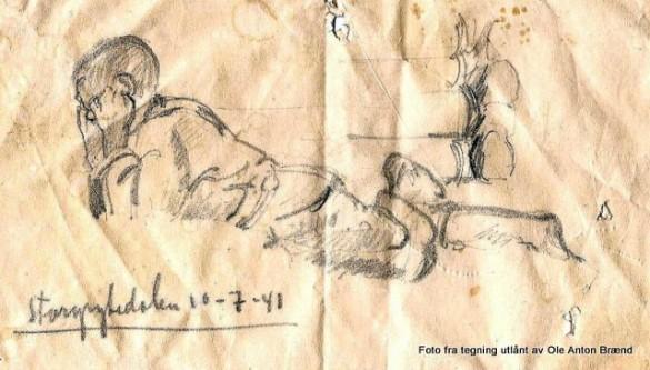 Tegning av Pål Brænd som ligger på setervollen og leser. Påskrift: Stprgrytdalen10-7-41. Tegning Knut Skinnarland