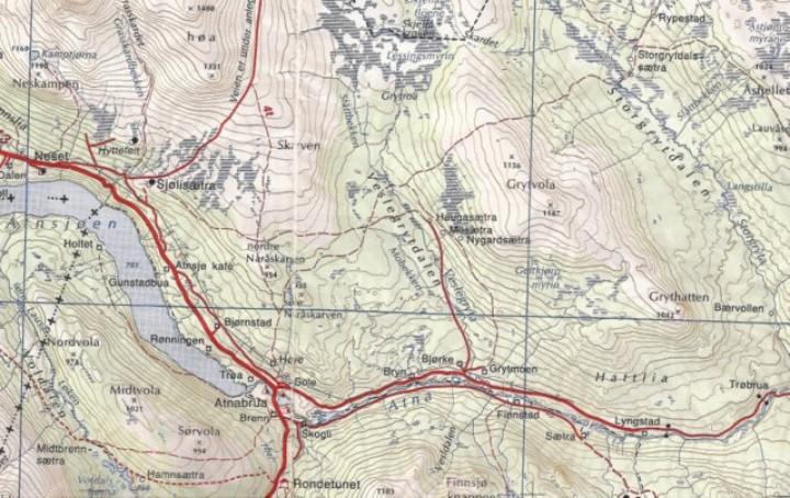 Kart over Vesl-Grytdalen