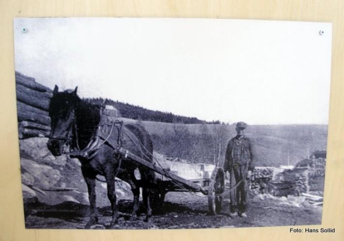 Ole Kulstad kjører sviller på Atnbrusaga i 1941
