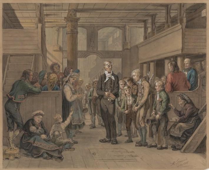Katekisasjon, 1845, av Adolph  Tidemand